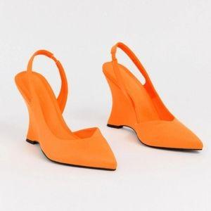 Asos Wedges In Bright Orange US 7.5-8
